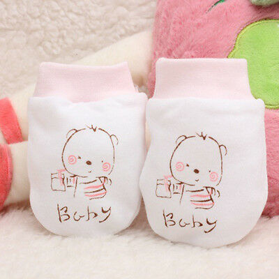 Newborn Baby Infant Anti Scratch Gloves Mittens Soft Cotton Hand Guard Face Hot