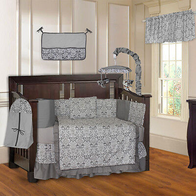 Grey Damask 10 Piece Baby Crib Bedding Set (Including Musical Mobile)