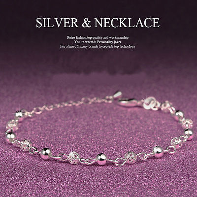 New Women Ball Plated Silver Crystal Chain Bangle Cuff Charm Bracelet Jewelry