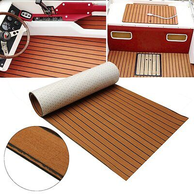 Marine Flooring Faux Teak EVA Foam Boat Decking Sheet 2.4M Self-Adhesive - Brown