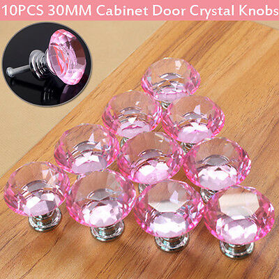 10x Pink Crystal Glass Diamond Door Knob Pull Drawer Cabinet Kitchen Handle 30mm
