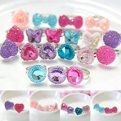 5pcs Crystal Butterfly Heart Bright Drill Adjustable Children Jwewlry Ring Girls