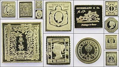 100 Greatest Stamps Collection .925 Silver Bar Replicas Asia Postage Stamp
