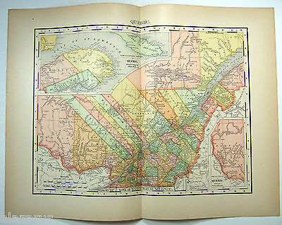 Rare Original 1895 Map of Quebec by Rand McNally