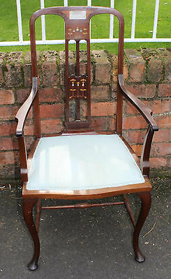 Elegant 1920's French Mahogany Occasional Carver Chair with decorative Back