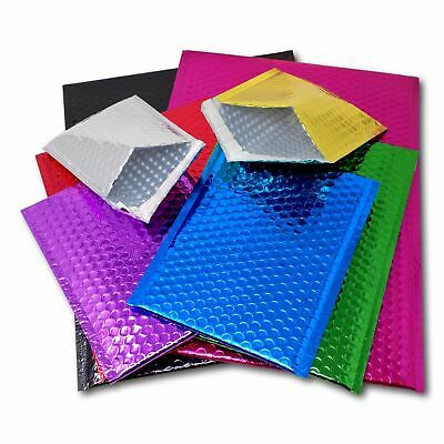 C3 C4 DVD CD Gift Shiny Metallic Foil Bubble Lined Padded Mailing Bags Envelopes