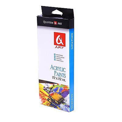 Set Of Acrylic Paints in 12 Assorted Colours in 12ml Tubes for Artist Art Craft
