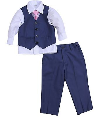 Baby Boy Christening Formal Wedding Tuxedo 4pc Blue Suit Set with Tie 3 M - 8 Y