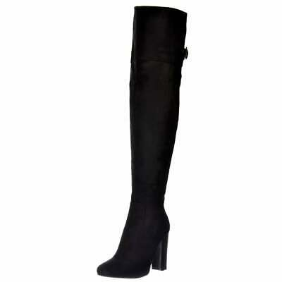 Womens Girls Over The Knee Thigh High Sexy Heeled Boots Party Black Suede