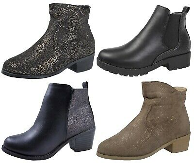Girls Faux Leather Chelsea Ankle Boots Snake Glitter Low Heel Winter Shoes Size