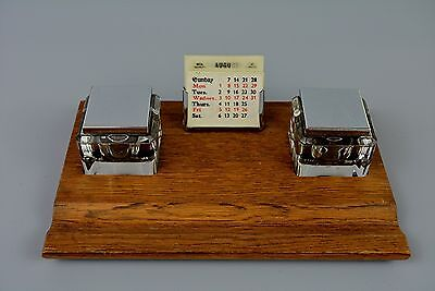 Vintage English Made Oak & Chrome Deskstand, Inkstand, Calendar, Mantique