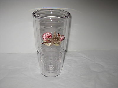 Tervis Tumbler 24 oz Sea Shells Beach Clear Insulated Drink Cup New
