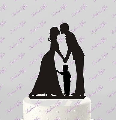 Wedding Cake Topper Silhouette Bride and Groom with boy; Kiss; Family, Acrylic