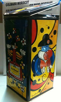 Empty old tin metal box GRAND MARNIER ROMERO BRITTO 1990 for a 75 cl bottle