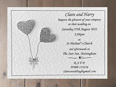50 Handmade Personalised Wedding Invitations Day / Evening with Free Envelopes.