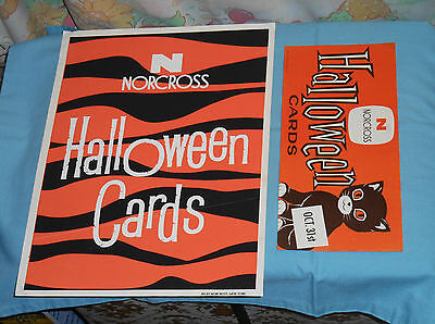 vintage original NORCROSS greeting cards HALLOWEEN ADVERTISING SIGNS one w/ cat