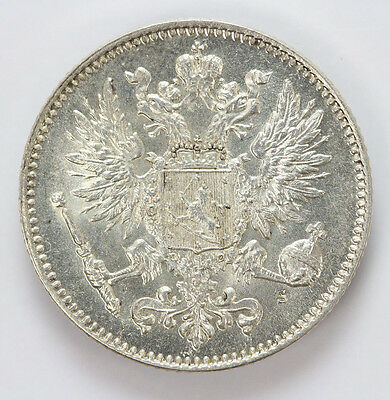 1914 S Finland Silver 50 Pennia Crowned Imperial Double Eagle KM - BU #01291253g