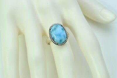 Larimar12X16mm 8.5ct Natural Vintage Solid .925 Sterling Silver Ring Size 6