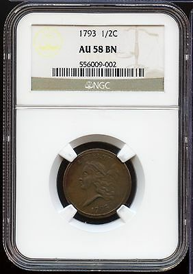 1793 Liberty Cap Half Cent Penny - NGC AU 58 BN Certified - MM241
