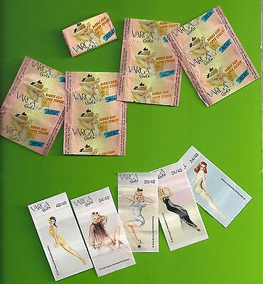 1996 VARGA Girls Gum and  stickers  - 1 Piece of Gum - 4 Wrappers - 10 Stickers