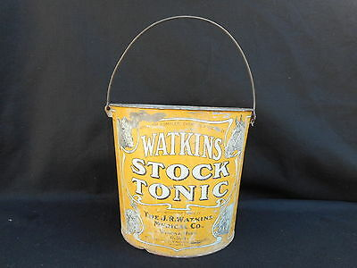 Watkins Stock Tonic Tin Bucket Pail Advertising Antique Vintage Hogs Horses