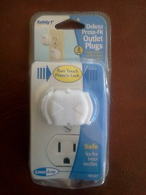 Safety 1st Deluxe Press Fit Outlet Plugs - 8 Pack - Brand New Sealed
