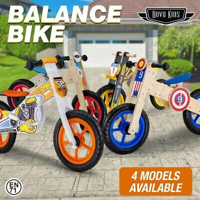 ROVO KIDS Wooden Balance Bike Ride On Toy Push Bicycle Trainer Toddler Outdoor