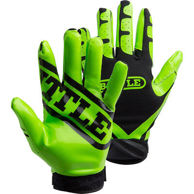 Battle Sports Science Receivers Ultra-Stick Football Gloves - Neon Green/Black