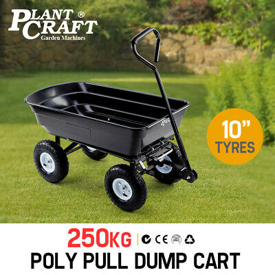 PlantCraft Poly Pull Dump Cart 250kg Garden Hand Trailer Wagon Lawn Wheelbarrow