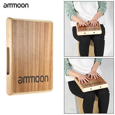 ammoon Compact Travel Cajon Flat Hand Drum Persussion Instrument Zebra Wood K8B5