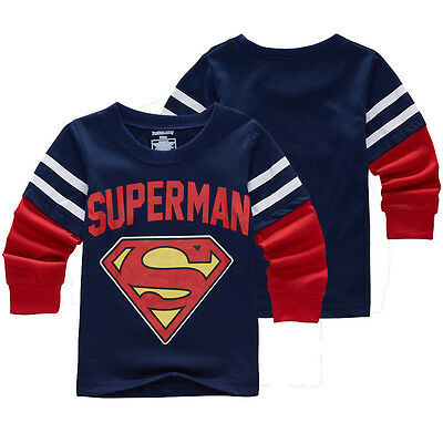 Baby Kids Toddler Boy Superman Superhero T-Shirt Long Sleeve Tee Basic Tee 2T-7T