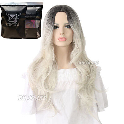 Women Long Curly Wig 24 Inches Light Blonde Gray Lace Front Heat Resistant Hair