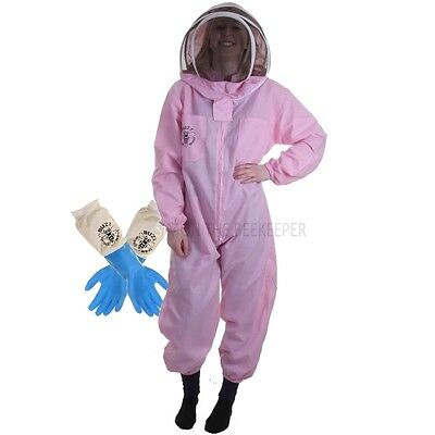 Buzz Basic Beekeepers Suit With Fencing Veil And Latex Gloves - Pink