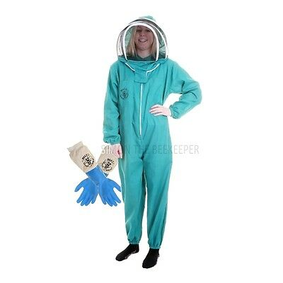 Buzz Basic Beekeepers Suit With Fencing Veil And Latex Gloves - Green