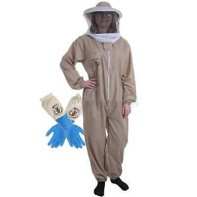 Buzz Basic Beekeepers Suit With Round Veil And Latex Gloves - Khaki