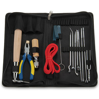 Set of 15pcs Professional Piano Tuning Maintenance Tools with Carrying Bag Case