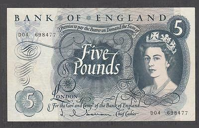 Bank Of England 5 Pounds Banknote P-375a ND 1963 XF