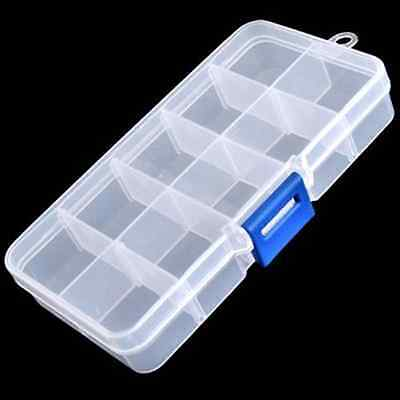 Clear Compartments False Nail Art Tips Jewelry Cosmetic Storage Box Case Contain