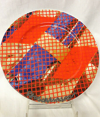 "Felissimo Robert Rauschenberg Tribute 21 Salad Plate 8 1/4"" Orange & Blue Signed"