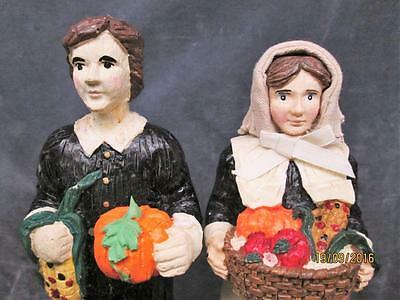 2 VINTAGE 80's  RESIN THANKSGIVING PILGRIM PEOPLE