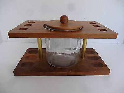 Wooden 6 Pipe Holder with Glass Canister Humidor for Tobacco