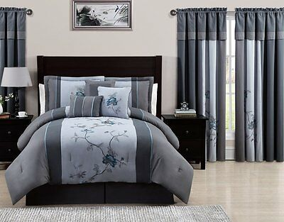 7-Piece Embroidered Floral Bed-in-a-Bag Comforter Set Gray/Blue Queen