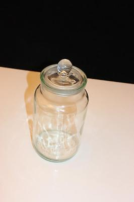 "Vintage Ravenhead 11.49"" Ground Glass Canister Apothecary Jar and Lid England"