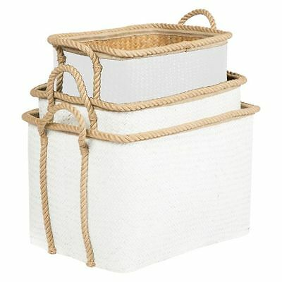 NEW Casa Uno Rectangle Storage Basket with Rope Handle (Set of 3)