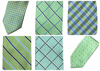 Dockers Men's Neck Tie Green Geo Crosshatch Checkered Stripe Polka Dot Mint NEW