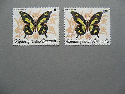 BURUNDI, 2x used stamp 1984, butterfly, one stamp overprinted revalued