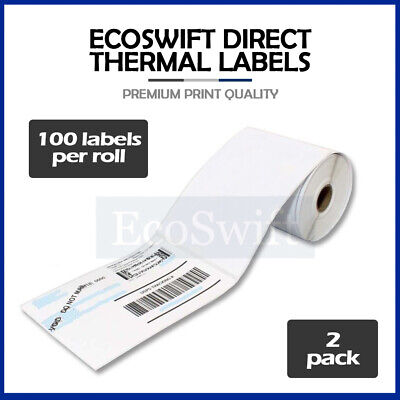 "2 Rolls 100 4"" x 6"" Zebra 2844 Eltron Direct Thermal Shipping Printer 200 Labels"