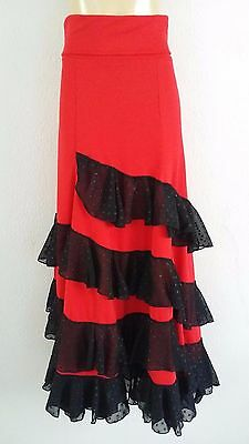 Flamenco Belly dance ballroom skirt Red and Black stretch fabric size M