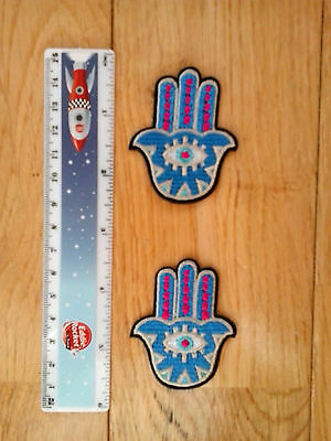 2 x Hamsa Hand Embroidered  Iron/Sew-on Patch  NEW