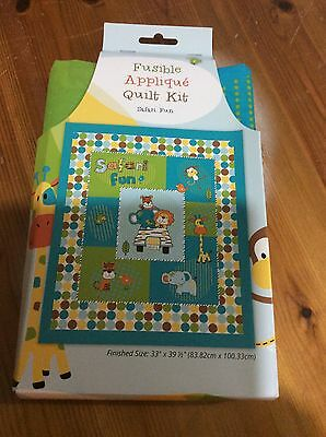 Patchwork Quilt Kit With Fusible Fabric Shapes, Safari Fun, Finished Size 33x39""